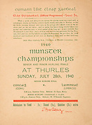 Munster Senior and Minor Hurling Championship Final, held at Croke Park, Dublin, Ireland..07281940MSMHF.28.07.1940, 07.28.1940, 28th July 1940, ..Senior Cork v Limerick.Minior Limerick v Clare.