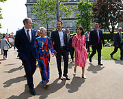 117/05/2019 repro Free:   Sean Kyne TD, MEP Candidate Maria Walsh got a big push from party leader and Taoiseach Leo Varadkar and Hildagarde Naughton TD in Galway as the team canvassed the town and visited the Portershed  which celebrated it's third Birthday. Photo:Andrew Downes, Xposure