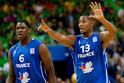 Kevin Seraphin of France and Boris Diaw of France during basketball game between National basketball teams of Lithuania and France at FIBA Europe Eurobasket Lithuania 2011, on September 9, 2011, in Siemens Arena,  Vilnius, Lithuania.  (Photo by Vid Ponikvar / Sportida)