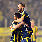 Fenerbahce's Diego (C) during their Turkish Super League soccer match Akhisar Belediye Genclik Spor between Fenerbahce at the 19 Mayis Stadium in Manisa Turkey on Sunday, 06 March 2016. Photo by TURKPIX