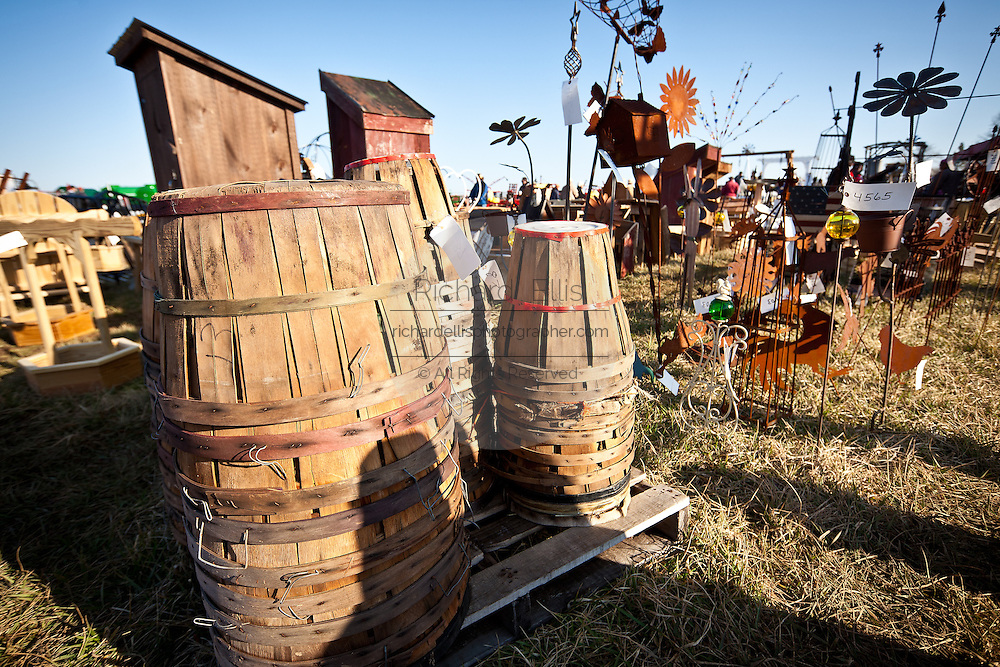 Amish baskets and other items for sale during the Annual Mud Sale to support the Fire Department  in Gordonville, PA.