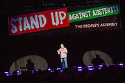 Jason Manford. The Peoples Assembly  presents: Stand Up Against Austerity. Live at the Hammersmith Apollo. London. © Andrew Aitchison / Peoples Assembly