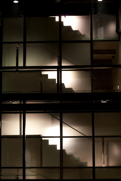 Stairs silhouetted at the University of Virginia.