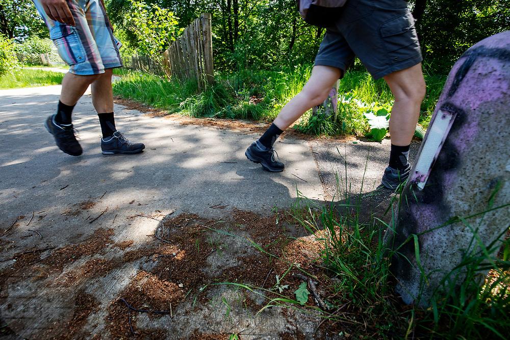 Wandelaars lopen over het fietspad tussen Soest en Den Dolder.<br /> <br /> Hikers walk at the cycle path between Soest and Den Dolder.