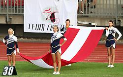 27.07.2010, Wetzlar Stadion, Wetzlar, GER, Football EM 2010, Team Austria vs Team Finland, im Bild Cheerleader mit oesterreichischer Fahne,  EXPA Pictures © 2010, PhotoCredit: EXPA/ T. Haumer