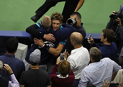 NEW YORK, Sept. 9, 2017  Kevin Anderson (C) of South Africa celebrates after defeating Pablo Carreno Busta of Spain during the men's singles semifinal match at the 2017 US Open in New York, the United States, Sept. 8, 2017. Kevin Anderson won 3-1 to enter the final. (Credit Image: © Qin Lang/Xinhua via ZUMA Wire)