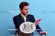© Licensed to London News Pictures. 22/05/2013. Westminster, UK Deputy Prime Minister Nick Clegg makes a speech and holds an extended media Q&A on Wednesday 22 May 2013 at Admiralty House, Whitehall. He spoke about the coalition governing until 2015. Photo credit : Stephen Simpson/LNP