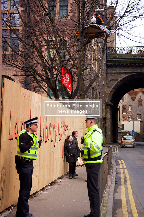 Dreamvale Properties wants to evict the protesters, who have set up camp 20ft above ground in the Grassmarket in Edinburgh. Simon Byrom was the original inhabitant of the tree house but has been replaced by Andrea Massa-Bernucci. <br /> The tree stands at the edge of land earmarked for the 225-bedroom hotel, which was given planning permission in November 2016. 7th March, 2017. (c) Brian Anderson   Edinburgh Elite media