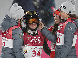 PYEONGCHANG, Feb. 12, 2018  Katharina Althaus from Germany welcomes congratulation after finishing the ladies' normal hill individual event of ski jumping at 2018 PyeongChang Winter Olympic Games at Alpensia Ski Jumping Centre, PyeongChang?South Korea, Feb. 12, 2018. Katharina Althaus claimed second-place with 252.6 points. (Credit Image: © Bai Xuefei/Xinhua via ZUMA Wire)