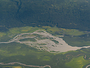 Aerial view of a braided river on a flight from Talkeetna to Denali; likely the Tokositna River.