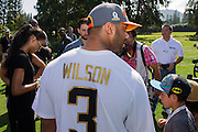 January 30 2016: Seattle Seahawks Russell Wilson and Ciara sign autographs after the final Pro Bowl practice at Turtle Bay Resort on Oahu, HI. (Photo by Aric Becker/Icon Sportswire)