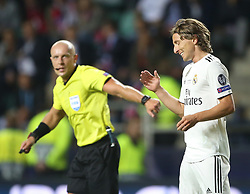 August 15, 2018 - Tallinn, Estonia - Luka Modric of Real reacts during the UEFA Super Cup between Real Madrid and Atletico Madrid at Lillekula Stadium on August 15, 2018 in Tallinn, Estonia. (Credit Image: © Raddad Jebarah/NurPhoto via ZUMA Press)