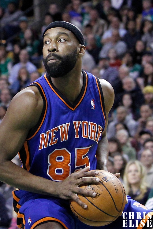 04 March 2012: New York Knicks point guard Baron Davis (85) is seen during the Boston Celtics 115-111 (OT) victory over the New York Knicks at the TD Garden, Boston, Massachusetts, USA.