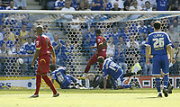 Photo: Aidan Ellis.<br /> Leicester City v Watford. Coca Cola Championship. 25/08/2007.<br /> Leicester's D J Campbell scores the second