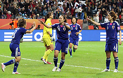 17.07.2011, Commerzbankarena, Frankfurt, GER, FIFA Women Worldcup 2011, Finale,  Japan (JPN) vs. USA (USA), im Bild:  .Torjubel / Jubel  nach dem 1:1 durch Aya Miyama (Japan) (L) mit Karina Maruyama (Japan), Yuki Nagasato (Japan / Potdsam) und Mizuho Skaguchi (Japan) (R).. // during the FIFA Women Worldcup 2011, final, Japan vs USA on 2011/07/11, FIFA Frauen-WM-Stadion Frankfurt, Frankfurt, Germany.   EXPA Pictures © 2011, PhotoCredit: EXPA/ nph/  Mueller       ****** out of GER / CRO  / BEL ******