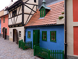 Old colourful houses in Golden Lane or Zlata Ulicka at Prague Castle in Prague in Czech Republic