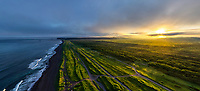 Aerial view of scenic sunset at Petropavlovsk Kamchatsky, Russia