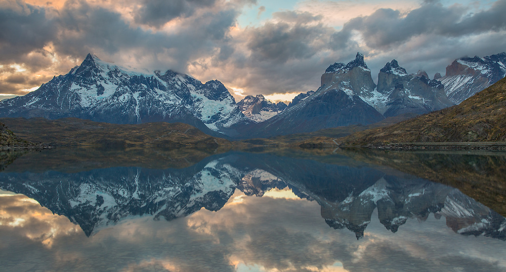 One of my all-time favorite images taken on Pehoe Lake at sunset in Torres del Paine National Park, Patagonia, Chile.
