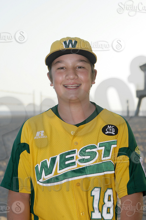 26 September 2011: #18 Justin Cianca 2011 Little League Baseball World Series Championship team portrait northside of the Huntington Beach Pier at sunset in Southern California.  Ocean View team WEST beat Hamamtsu City, Japan, 2-1, to become the seventh team from California to win the title on August 28, 2011 in South Williamsport, PA.
