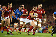 Gareth Davies of Wales makes a break.Rugby World Cup 2015 pool A match, Wales v Uruguay at the Millennium Stadium in Cardiff, South Wales  on Sunday 20th September 2015.<br /> pic by  Andrew Orchard, Andrew Orchard sports photography.