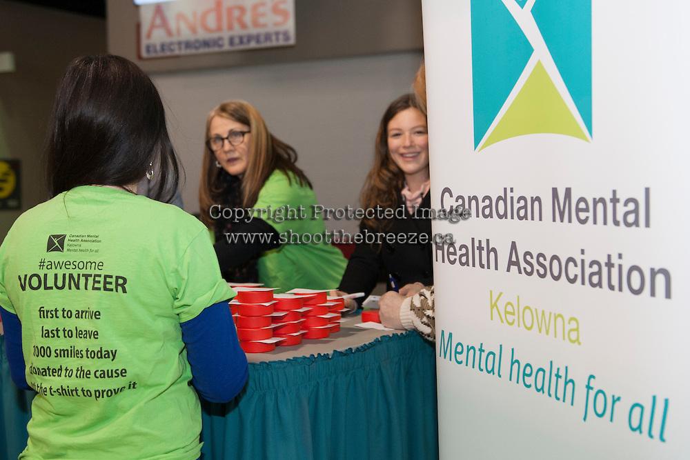 KELOWNA, CANADA - FEBRUARY 10: Canadian Mental Health Association volunteers on February 10, 2017 at Prospera Place in Kelowna, British Columbia, Canada.  (Photo by Marissa Baecker/Shoot the Breeze)  *** Local Caption ***