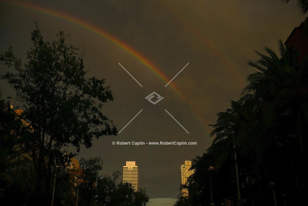 Rainbow over  Hotel Arts in  Barcelona, Catalonia, Spain.<br /> <br /> (Photo by Robert Caplin)