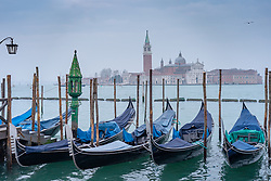 General views of gondolas and the Church of the Santissimo Redentore in the distance in Venice. From a series of travel photos in Italy. Photo date: Sunday, February 10, 2019. Photo credit should read: Richard Gray/EMPICS Entertainment