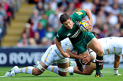 Leicester Tigers centre Anthony Allen is tackled to ground - Photo mandatory by-line: Patrick Khachfe/JMP - Tel: Mobile: 07966 386802 - 08/09/2013 - SPORT - RUGBY UNION - Welford Road Stadium - Leicester Tigers v Worcester Warriors - Aviva Premiership.