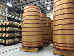 October 8, 2018 - Canal Winchester, OH, USA - Huge wooden foeders are used for aging sour beers at BrewDog. (Credit Image: © Terri Colby/Chicago Tribune/TNS via ZUMA Wire)