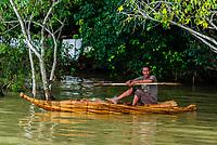 Man in a tanqua (papyrus reed boat), Lake Tana, near Bahir Dar, Ethiopia.