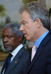 File photo dated 17/07/06 of Kofi Annan, with former Labour prime minister Tony Blair. Annan, one of the world's most celebrated diplomats and a charismatic symbol of the United Nations who rose through its ranks to become the first black African secretary-general, has died.