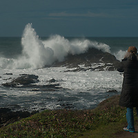 Pacific Ocean waves crash ashore at Bean Hollow State Beach near Pescadero, California.