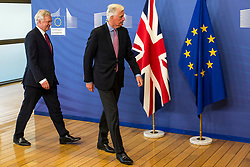 June 19, 2017 - Brussels, Bxl, Belgium - United Kingdom Secretary of State for Exiting the European Union, David Davis (L) is welcome by Michel Barnier, the European Chief Negotiator of the Task Force for the Preparation and Conduct of the Negotiations with the United Kingdom under Article 50, dubbed the 'Brexit' ahead of a meeting at EU Commission headquarters in Brussels, Belgium on 19.06.2017 by Wiktor Dabkowski (Credit Image: © Wiktor Dabkowski via ZUMA Wire)
