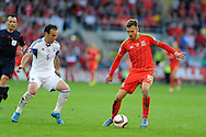 Aaron Ramsey of Wales in action. Euro 2016 qualifying match, Wales v Israel at the Cardiff city stadium in Cardiff, South Wales on Sunday 6th Sept 2015.  pic by Andrew Orchard, Andrew Orchard sports photography.