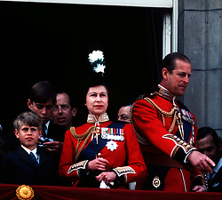 File photo dated 2/6/1973 of the Queen, the Duke of Edinburgh, Prince Andrew and Prince Edward on the balcony of Buckingham Palace, London, after the Trooping the Colour ceremony. The military parade has marked the official birthday of the sovereign for more than 270 years.