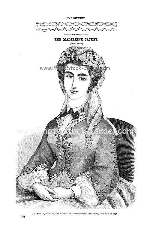 Embroidery The Madeleine Jacket (Front) from Godey's Lady's Book and Magazine, August, 1864, Volume LXIX, (Volume 69), Philadelphia, Louis A. Godey, Sarah Josepha Hale,
