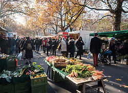 Weekend outdoor market at Kollwitzplatz in Autumn in Prenzlauer Berg , Berlin, Germany