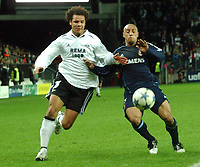 Champions League 01.11.05 - Rosenborg - Real Madrid 0-2<br /> <br /> Daniel Braathen proved more than a handful for Roberto Carlos<br /> Foto: Carl-Erik Erikson, Digitalsport