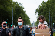 A man is seen holing a placard with his young daughter on his shoulders during the Melbourne Freedom Rally at The Shrine. Premier Daniel Andrews promises 'significant' easing of Stage 4 restrictions this weekend. This comes as only one new case of Coronavirus was unearthed over the past 24 hour and no deaths. (Photo by Dave Hewison/Speed Media)