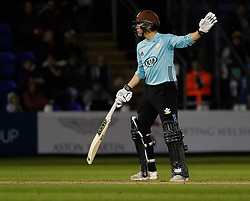 Surrey's Rory Burns turns down a second run<br /> <br /> Photographer Simon King/Replay Images<br /> <br /> Vitality Blast T20 - Round 14 - Glamorgan v Surrey - Friday 17th August 2018 - Sophia Gardens - Cardiff<br /> <br /> World Copyright © Replay Images . All rights reserved. info@replayimages.co.uk - http://replayimages.co.uk