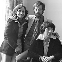 1976 Nobel Peace prizewinners, Mairead Corrigan, left, and Betty Williams, of the Peace People aka N Ireland Peace Movement, back at Peace House, Belfast, with fellow peace activist, Ciaran McKeown. 1977110120190b.<br /> <br /> Copyright Image from Victor Patterson, 54 Dorchester Park, Belfast, UK, BT9 6RJ<br /> <br /> t: +44 28 90661296<br /> m: +44 7802 353836<br /> vm: +44 20 88167153<br /> e1: victorpatterson@me.com<br /> e2: victorpatterson@gmail.com<br /> <br /> For my Terms and Conditions of Use go to www.victorpatterson.com