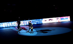 Novak Djokovic arrives ahead of his singles match during day six of the Nitto ATP Finals at The O2 Arena, London.