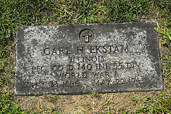 31 August 2017:   Veterans graves in Park Hill Cemetery in eastern McLean County.<br /> <br /> Carl H Ekstam Illinois Private First Class 140 INF 35 DIV  World War I  May 23 1896  May 22 1953