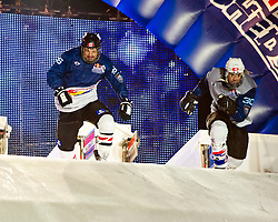 04-02-2012 SKATING: RED BULL CRASHED ICE WORLD CHAMPIONSHIP: VALKENBURG<br /> (L-R) Louis-Philippe Dumoulin CAN, Derek Wedge SUI during the Quarter final<br /> ©2012-FotoHoogendoorn.nl / Peter Schalk