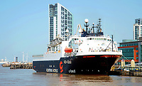 The floating hotel ship, Wind Innovation docked in liverpool during lockdown