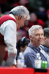 NORMAL, IL - January 05: Tom LaMonica chats with Jim Benson during a college basketball game between the ISU Redbirds and the University of Evansville Purple Aces on January 05 2019 at Redbird Arena in Normal, IL. (Photo by Alan Look)