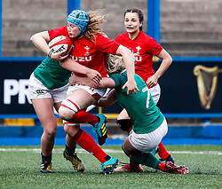 Gwen Crabb of Wales under pressure from Claire Molloy of Ireland <br /> <br /> Photographer Simon King/Replay Images<br /> <br /> Six Nations Round 5 - Wales Women v Ireland Women- Sunday 17th March 2019 - Cardiff Arms Park - Cardiff<br /> <br /> World Copyright © Replay Images . All rights reserved. info@replayimages.co.uk - http://replayimages.co.uk