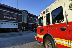 Sept. 11, 2015 - Bellmore, New York, United States - A North Bellmore Fire Dept. fire engine is parked in front of the Bellmore Fire House during the Bellmore Memorial Ceremony for 3 Bellmore volunteer firefighters and 7 residents who died due to 9/11 terrorist attack at NYC Twin Towers. Bellmore volunteer firefighters Lt. Kevin Prior and F.F. Adam Rand died on 9/11/2001, and F.F. Sean McCarthy died in 2008 due to illness related to working at scene of attack. (Credit Image: © Ann Parry via ZUMA Wire)