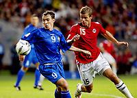Fotball , 6. september 2006 , EM-kvalifisering Norge - Moldova<br /> Euro 2008 - Group C qualifiers<br />  Norway - Moldova<br />  Marius Johnsen , Norge mot Victor Berco , Moldova