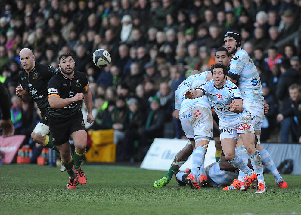 Racing Metro's Maxime Machenaud in action during todays match<br /> <br /> Photographer Ashley Crowden/CameraSport<br /> <br /> Rugby Union - European Rugby Champions Cup - Pool 5 - Northampton Saints v Racing Metro - Saturday 24th January 2015 - Franklin's Gardens - Northampton<br /> <br /> © CameraSport - 43 Linden Ave. Countesthorpe. Leicester. England. LE8 5PG - Tel: +44 (0) 116 277 4147 - admin@camerasport.com - www.camerasport.com